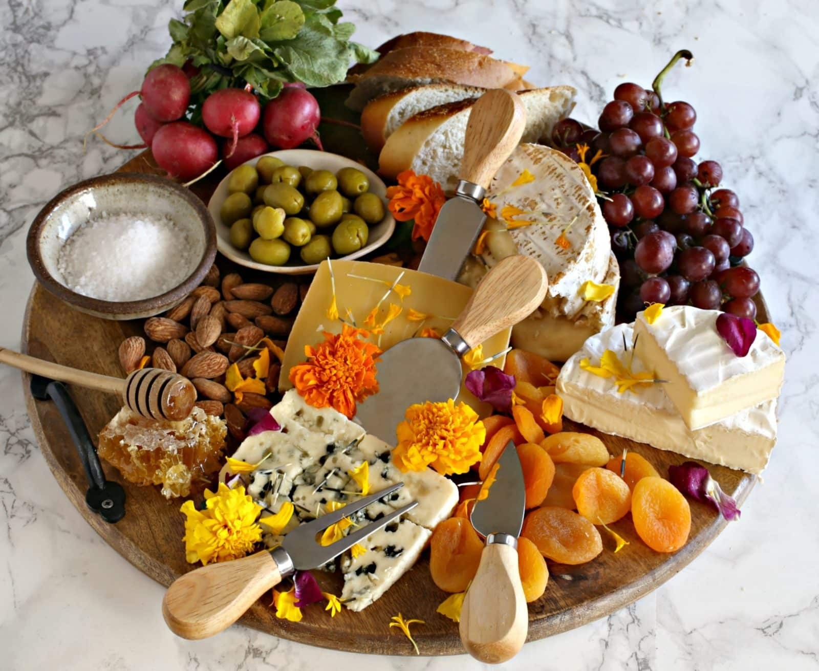 Cheese Board With Edible Flowers